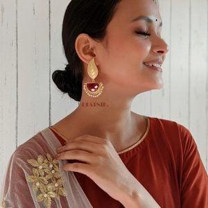 Golden Matte Leaf Stud Earrings – Maroon Lifestyle Image