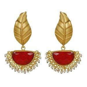 Golden Matte Leaf Stud Earrings – Maroon Main Image