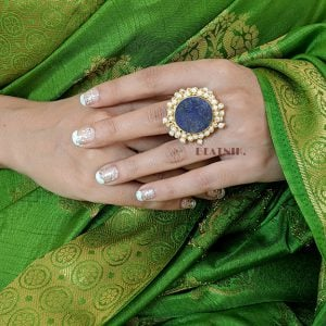 Gold Matte Plated Blue Druzy Stone Ring – Adjustable Lifestyle Image