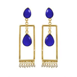 Gold Matte Plated Contemporary Earrings – Blue Main Image