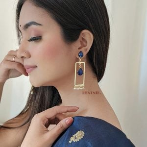 Gold Matte Plated Contemporary Earrings – Blue Lifestyle Image