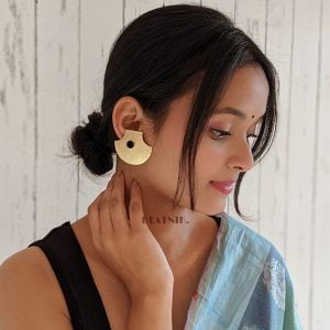 Gold Matte Plated Statement Stud Earrings – Black Lifestyle Image