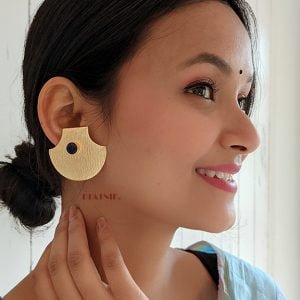Gold Matte Plated Statement Stud Earrings – Blue Lifestyle Image