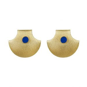 Gold Matte Plated Statement Stud Earrings – Blue Main Image