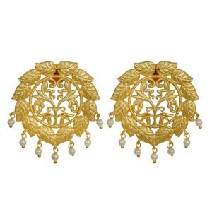 Gold Matte Plated Wreath Statement Earrings Main Image