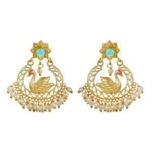 Gold Matte Swan Motif Stud Earrings Main Image