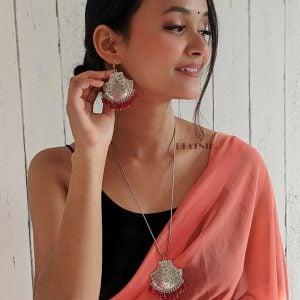Handmade Oxidised Silver Pendant Necklace Earrings Set Lifestyle Image