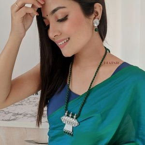 Handmade Thread Silver Oxidised Necklace Earrings Set – Green Lifestyle Image