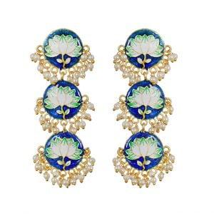 Handpainted Meenakari Pearl Beads Earrings – Blue Main Image