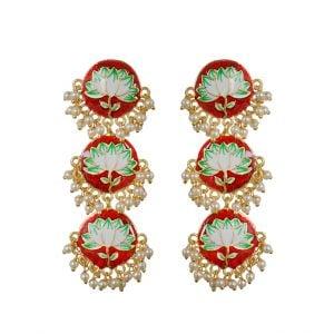 Handpainted Meenakari Pearl Beads Earrings – Red Main Image