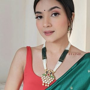 Meenakari Kundan Traditional Necklace Earrings Set Lifestyle Image