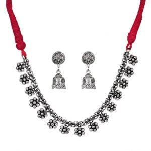 Oxidised Silver Flower Motif Choker Necklace Earrings Set Main Image