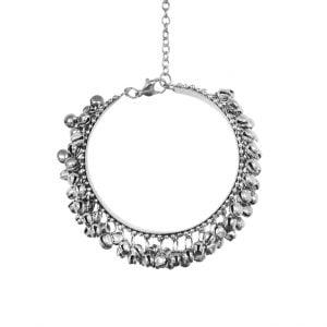 Oxidised Silver Ghungroo Bangle – Adjustable Main Image