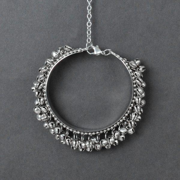 Oxidised Silver Ghungroo Bangle – Adjustable On Black Background