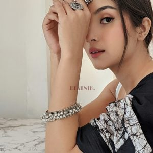 Oxidised Silver Ghungroo Bangle – Adjustable Lifestyle Image