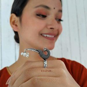 Oxidised Silver Morni Ring – Adjustable Lifestyle Image