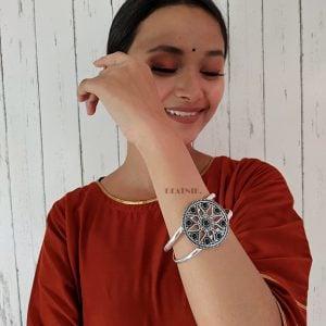 Round Black Stone Brass Kada Cuff Bangle – Adjustable Lifestyle Image