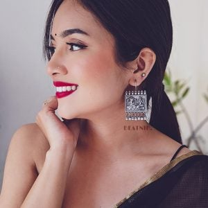 Silver Lookalike Brass Stud Earrings Lifestyle Image