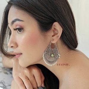 Silver Lookalike Brass Handcrafted Chandbali Earring Lifestyle Image