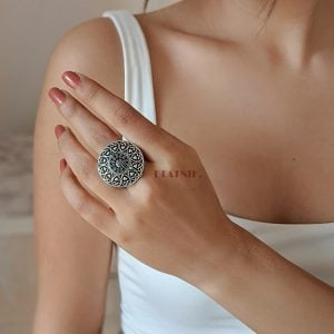 Silver Oxidised Plated Brass Adjustable Ring Lifestyle Image