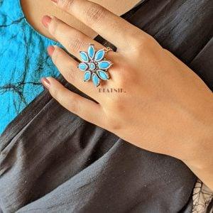 Silver Oxidised Plated Brass Mini Ring – Adjustable Lifestyle Image