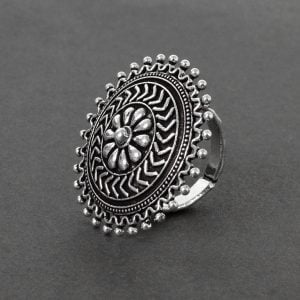 Silver Oxidised Plated Brass Ring – Adjustable On Black Background