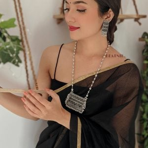 Silver Oxidised Plated Chain Necklace Earrings Set Lifestyle Image