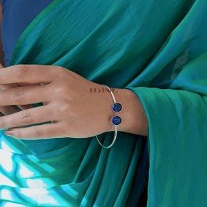 Silver Plated Blue Kada Bangle – Adjustable Lifestyle Image