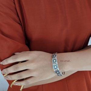 Silver Plated Round Motif Bangle – Adjustable Lifestyle Image