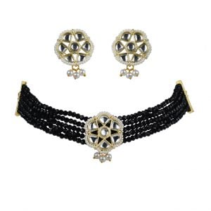 Traditional Glass Beads Kundan Choker Necklace Earrings Set Main Image