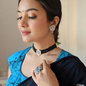 Traditional Glass Beads Kundan Choker Necklace Earrings Set Lifestyle Image