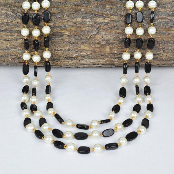 Traditional Layered Glass Beads Mala Necklace- Black On Wooden Log