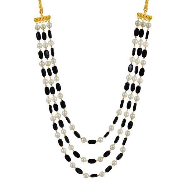 Traditional Layered Glass Beads Mala Necklace- Black Main Image