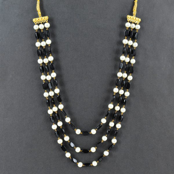 Traditional Layered Glass Beads Mala Necklace- Black On Black Background