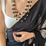 Traditional Layered Glass Beads Mala Necklace- Black