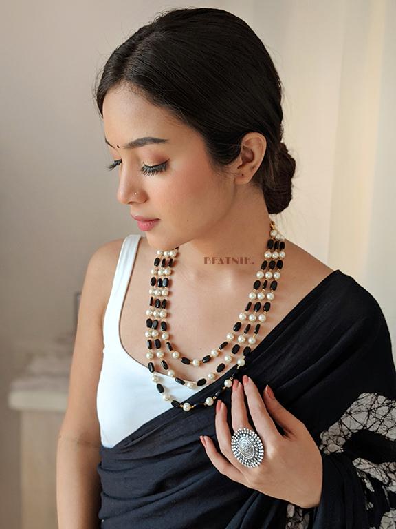 Traditional Layered Glass Beads Mala Necklace- Black Lifestyle Image