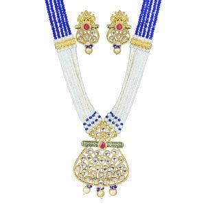 Traditional Jadau Kundan Meenakari Necklace Earrings Set Main Image