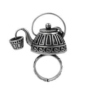 Antique Silver Plated Ketli/Kettle Statement Ring – Adjustable Main Image
