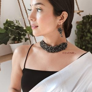 Ghungroo Embellished Black Metal Necklace Earrings Choker Set Lifestyle Image