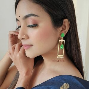 Gold Matte Plated Contemporary Earrings – Green Lifestyle Image