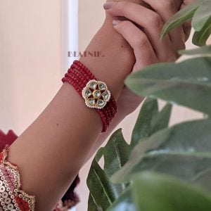 Gold Plated Ruby Beaded Traditional Bracelet – Adjustable Lifestyle Image