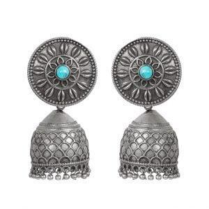 Handcrafted Brass Silver Lookalike Turquoise Stone Jhumki Earrings Main Image