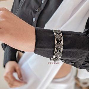 Oxidised Silver Adjustable Kada Bangle Lifestyle Image