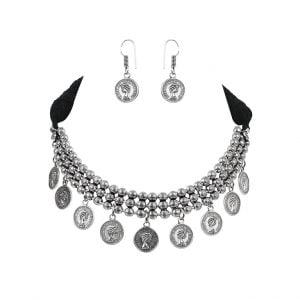 Oxidised Silver Antique Coin Choker Necklace Earrings Set Main Image