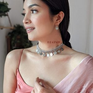 Oxidised Silver Antique Coin Choker Necklace Earrings Set Lifestyle Image