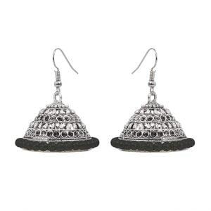 Oxidised Silver Black Beads Jhumki Earrings Main Image