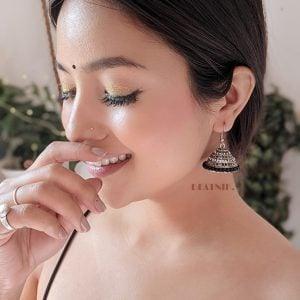 Oxidised Silver Black Beads Jhumki Earrings Lifestyle Image