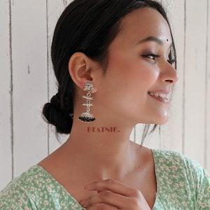 Oxidised Silver Black Beads Small Jhumki Earrings Lifestyle Image