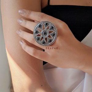 Oxidised Silver Black Stone Ring – Adjustable Lifestyle Image