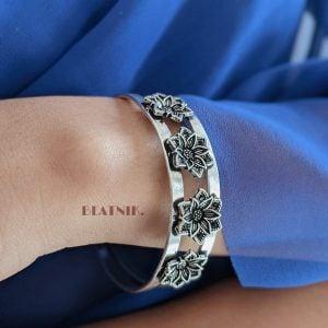 Oxidised Silver Bloom Kada Bangle- Adjustable Lifestyle Image